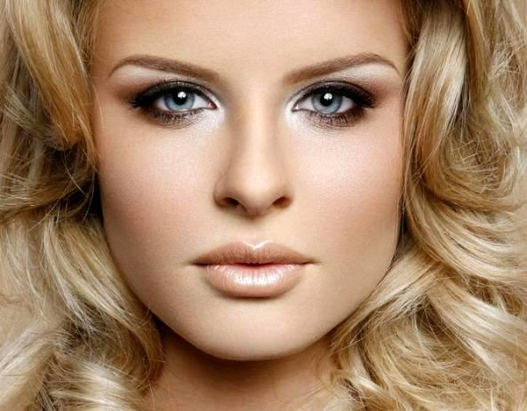 Макияж для блондинок с голубыми глазами. Дневной мейкап